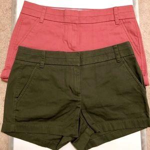 2 pairs j crew chino shorts size 2